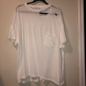 Super distressed Free People pocket tee